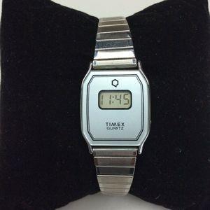Timex Silver Watch Quartz Digital Stretch Band